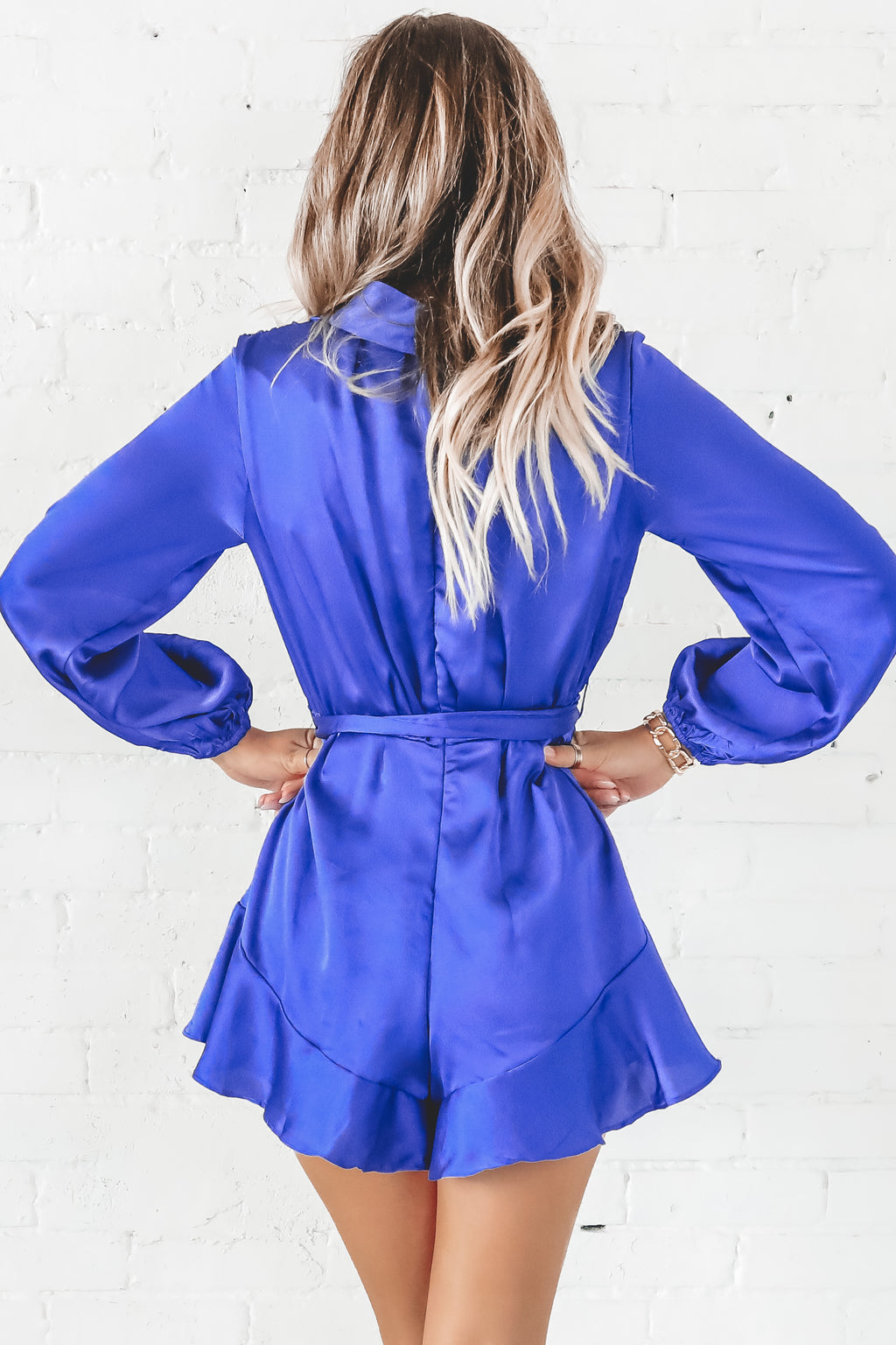 Better Than Ever Sapphire Satin Romper
