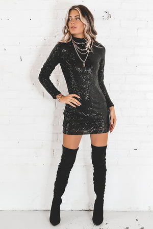 MOTEL Guedra Black Drape Sequin Dress