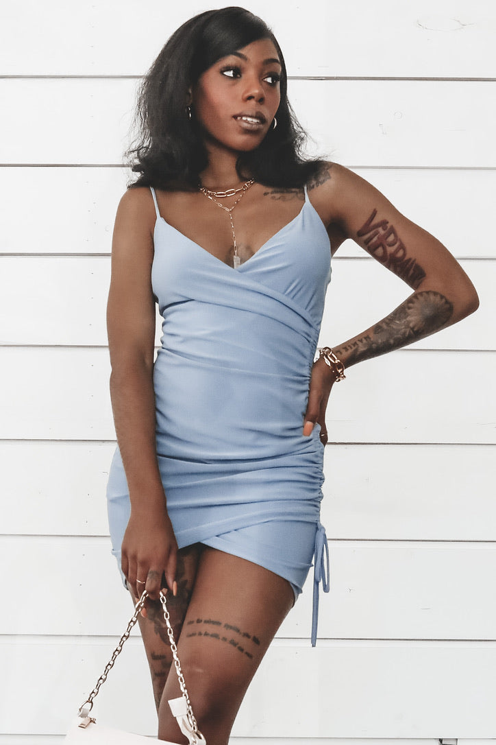 Pull Me In Ruched Blue Steel Mini Dress