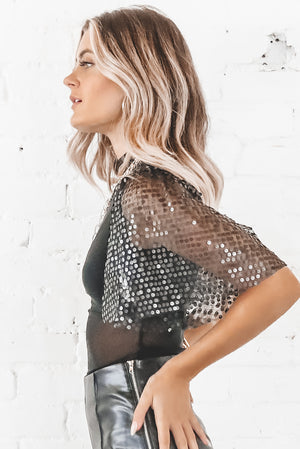 Wine Me Dine Me Black Mesh Sequin Sleeve Bodysuit
