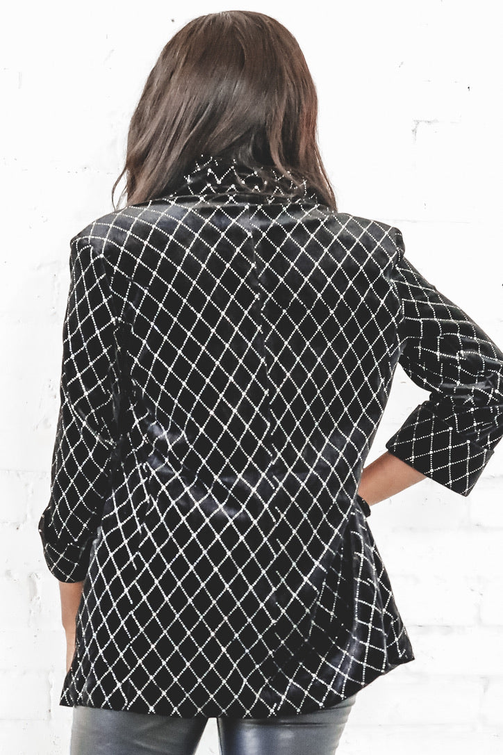 Stop And Stare Black Velvet Blazer