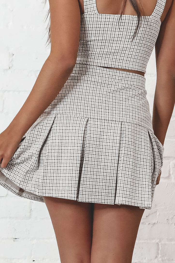 Highschool Sweethearts Yellow Combo Plaid Tennis Skirt