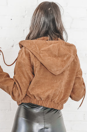 I Found You Camel Corduroy Zip Up Hoodie