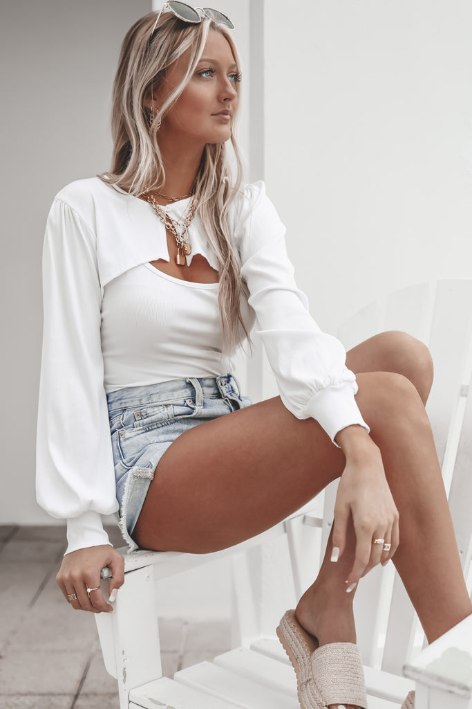 Wishful Thinking White Cami And Cardigan Top