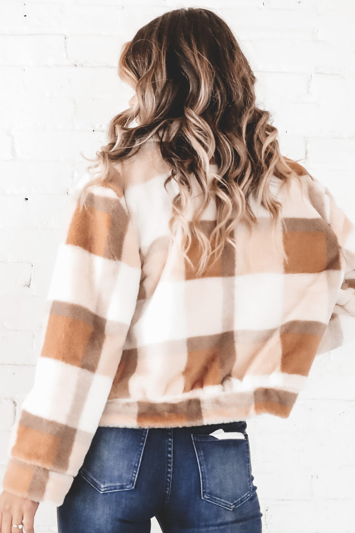Cozy Cool Ivory Plaid Fur Jacket
