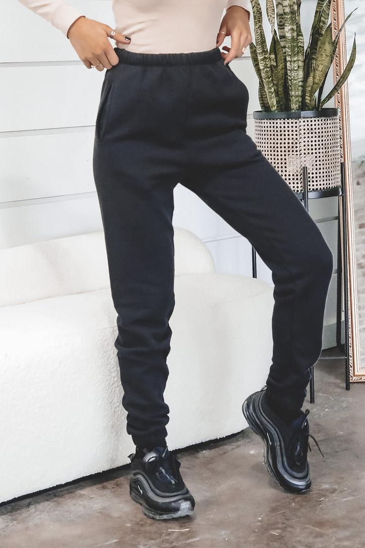 JOHN BROWN Black French Terry Empire Joggers