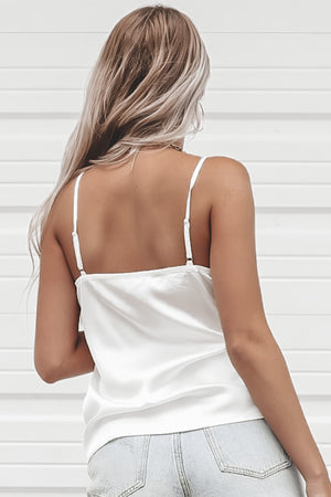 Taking Things Slow White Satin Top