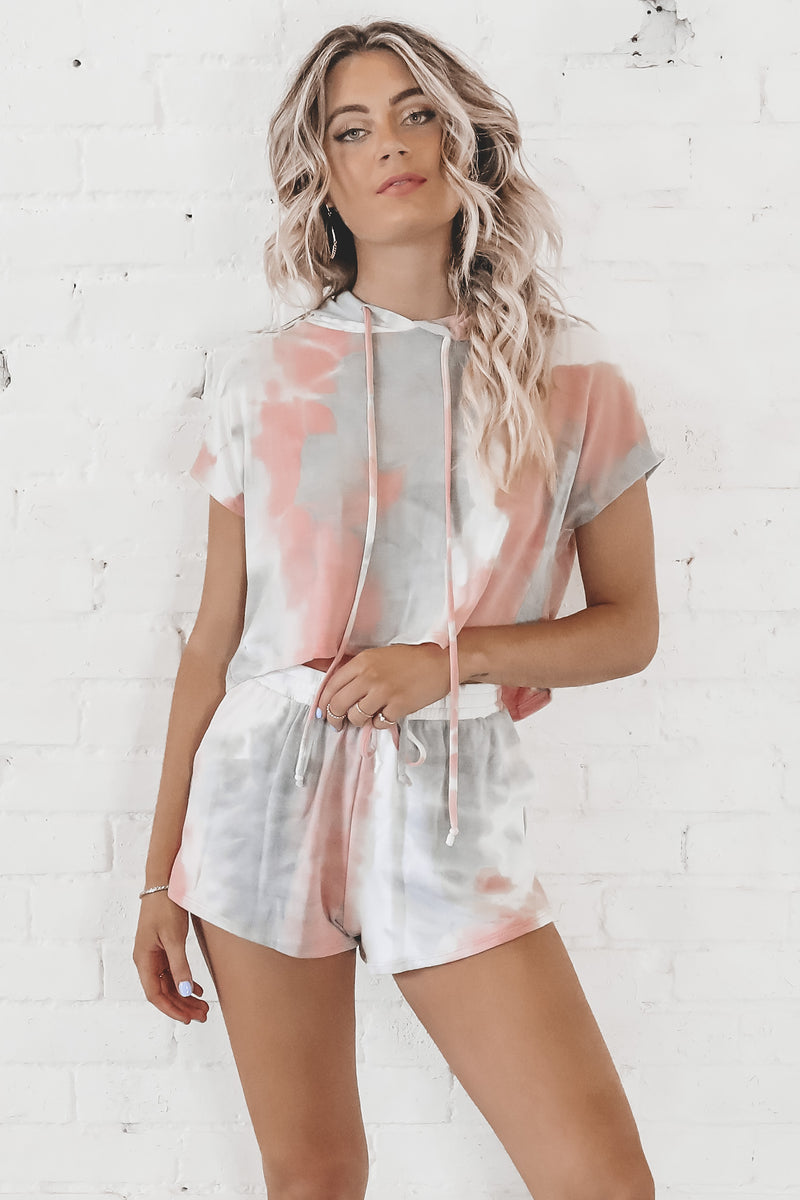 When In Doubt Lounge It Out Gray Tie Dye Set