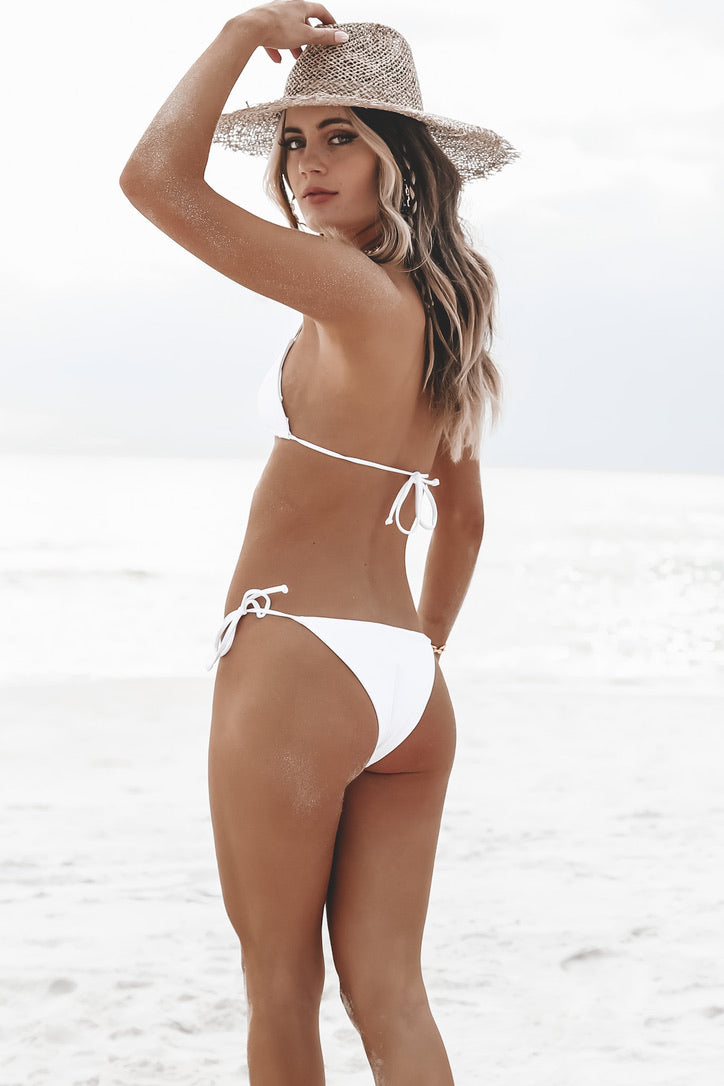 IT'S NOW COOL White Side Tie Bikini Bottoms