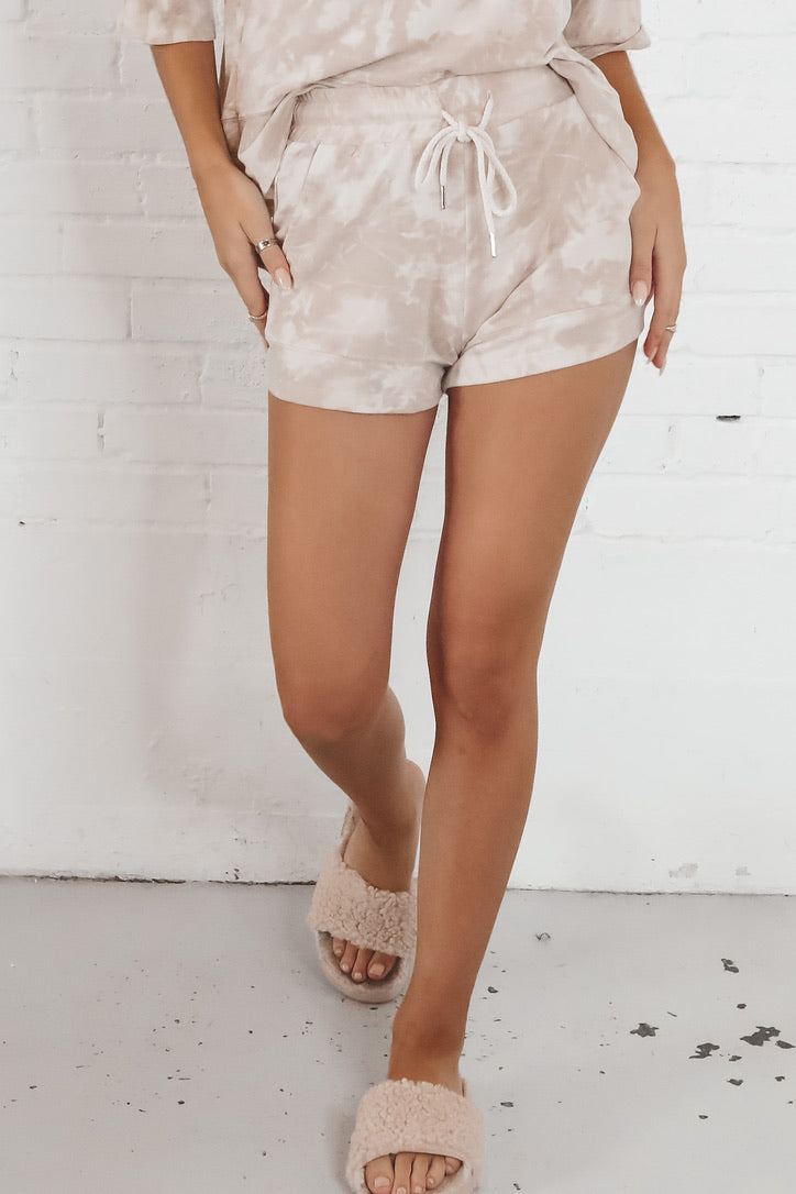 All The Butterflies Taupe Tie Dye Shorts