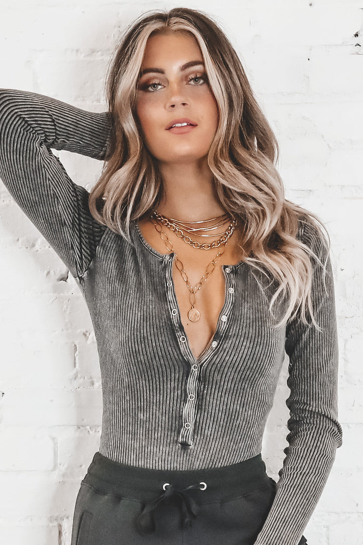 Make It Right Charcoal Washed Button Down Bodysuit