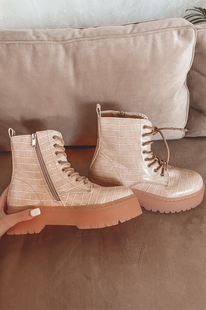 Out West Nude Croc Lace Up Boots
