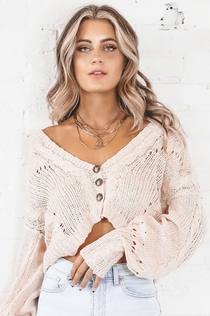 Pretty In Pale Pink Knit Sweater Cardigan