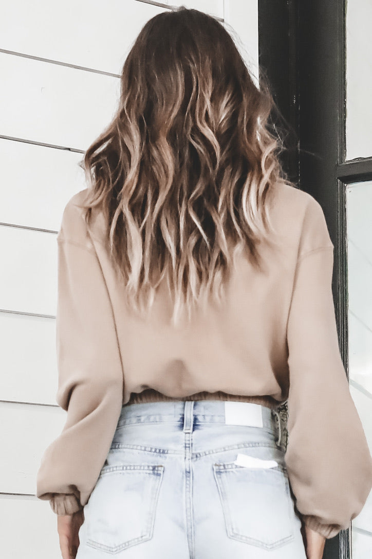 Totally In Tan Mock Neck Sweater Top