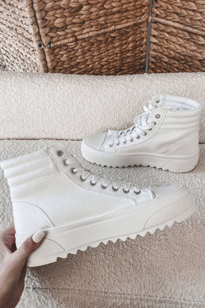 Late For Class Off White High Top Sneakers