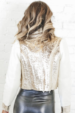 Head To Toe In Love Gold Vegan Leather Crop Jacket