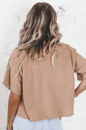 Talk To The Hand Beige Button Down Top