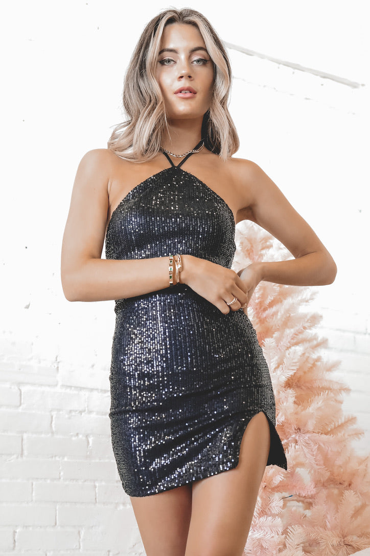 MOTEL Malida Black Sequin Drape Dress