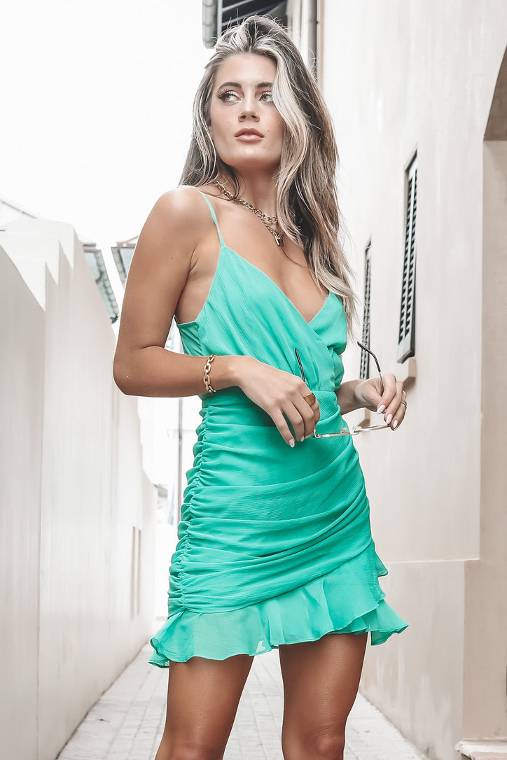 This Is My Color Green Surplice Dress