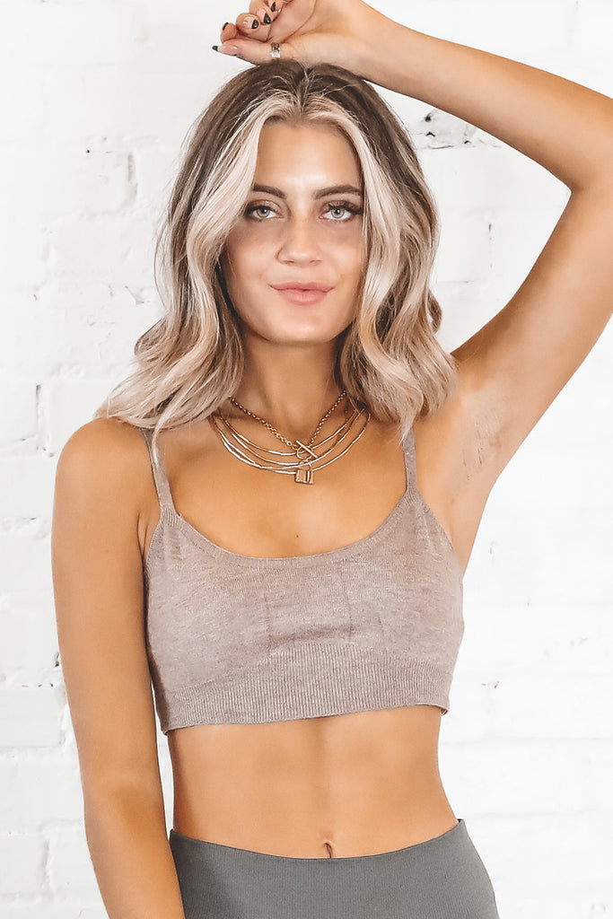 Move To The Beat Mauve Sweater Bralette