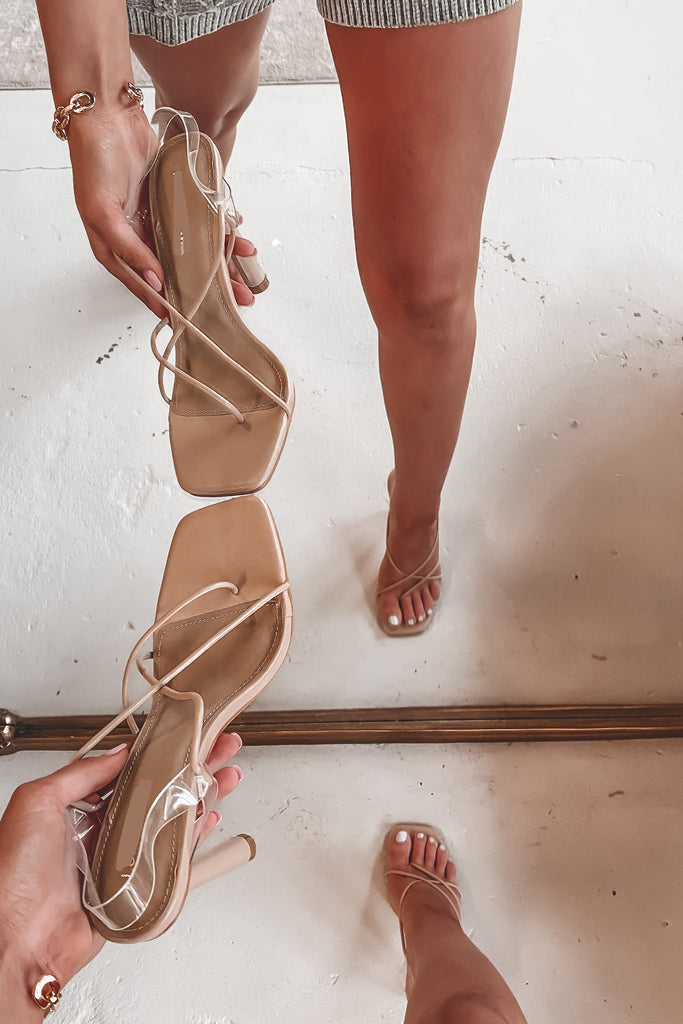 Nice Date Night Nude Strappy Heels