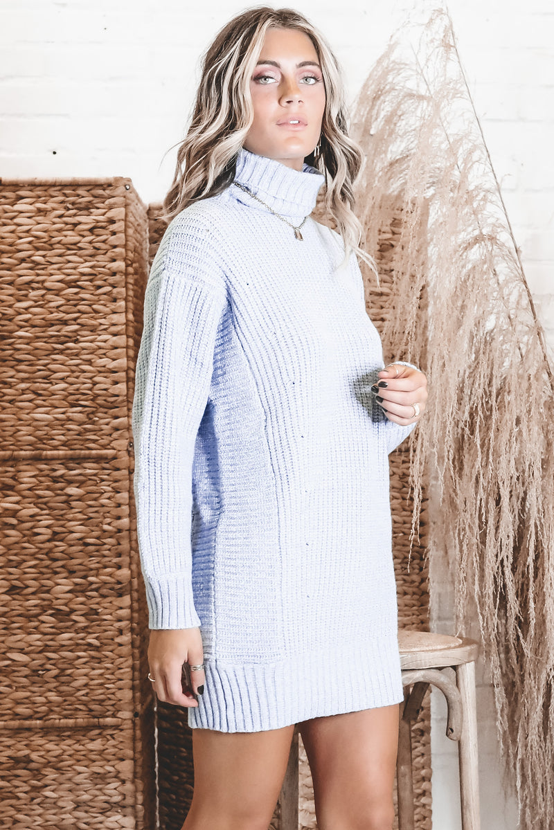 MINKPINK Echoes Blue Knit Dress