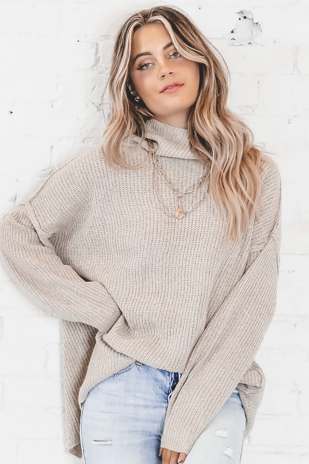 Always Right Oatmeal Mock Turtleneck Sweater