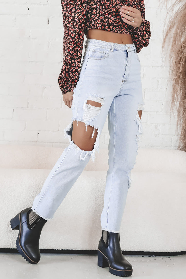 Don't Stress It Light Wash Distressed Mom Jeans