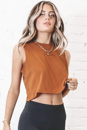 THRILLS Minimal Thrills Crop Golden Brown Muscle Tee