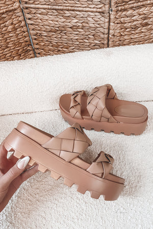 Minding My Business Nude Braided Sandal