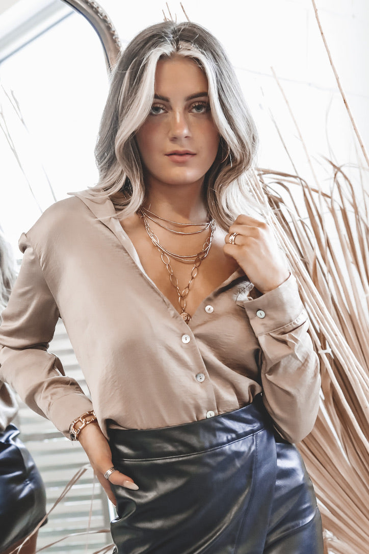 Bare With Me Taupe Satin Button Down Blouse