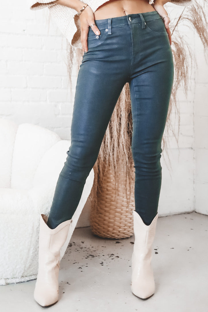 PISTOLA Aline High Rise Skinny Jeans - Coated Green