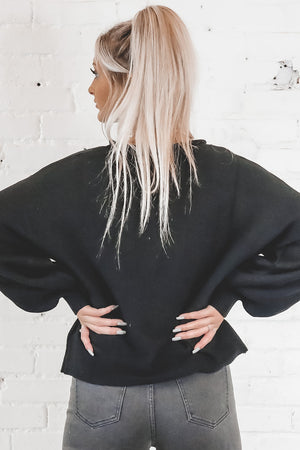 Fairytale Ending Black Balloon Sleeve Sweater
