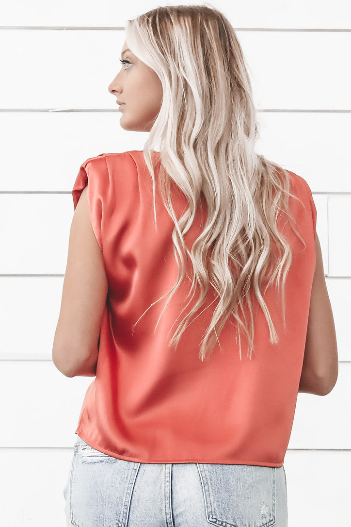 Chip On My Shoulder Orange Satin Sleeveless Top