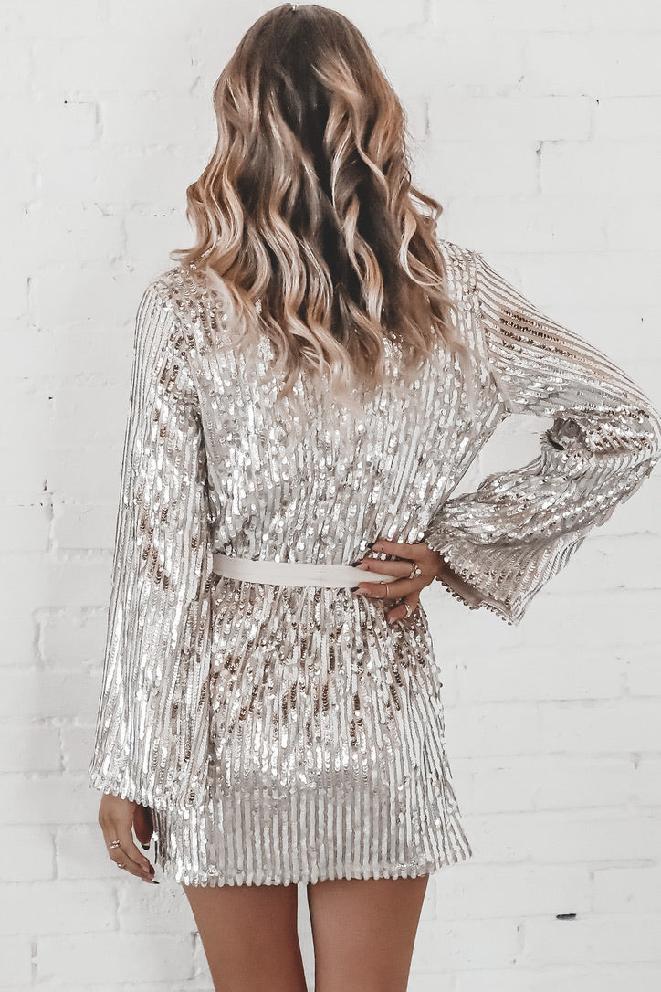 Wrapped Up In You Sequin Wrap Dress