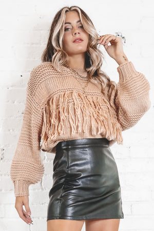 MINKPINK Yoanna Chunky Fringe Knit Antique Peach Sweater