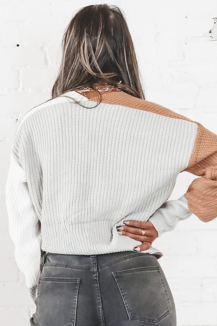 Can't Seem To Forget You Taupe Color Block Sweater