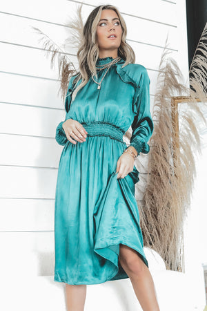 Meet Me By The Mistletoe Satin Green Dress