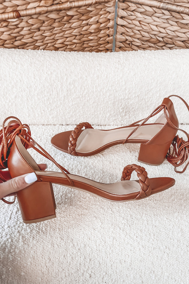 Talk To Me Tan Strappy Sandals