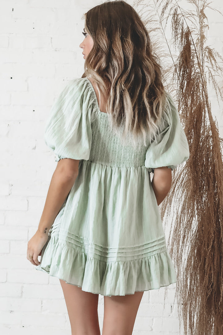 Hey Baby Pistachio Babydoll Dress