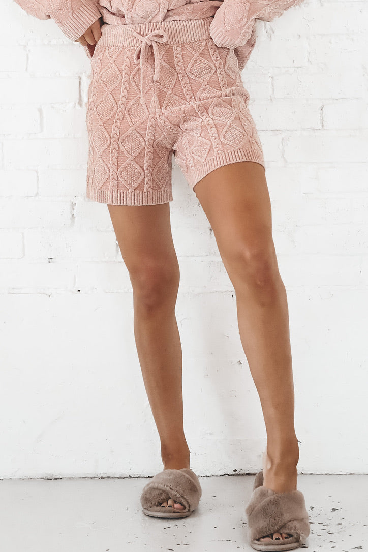 Ice Ice Baby Rose Quilted Shorts