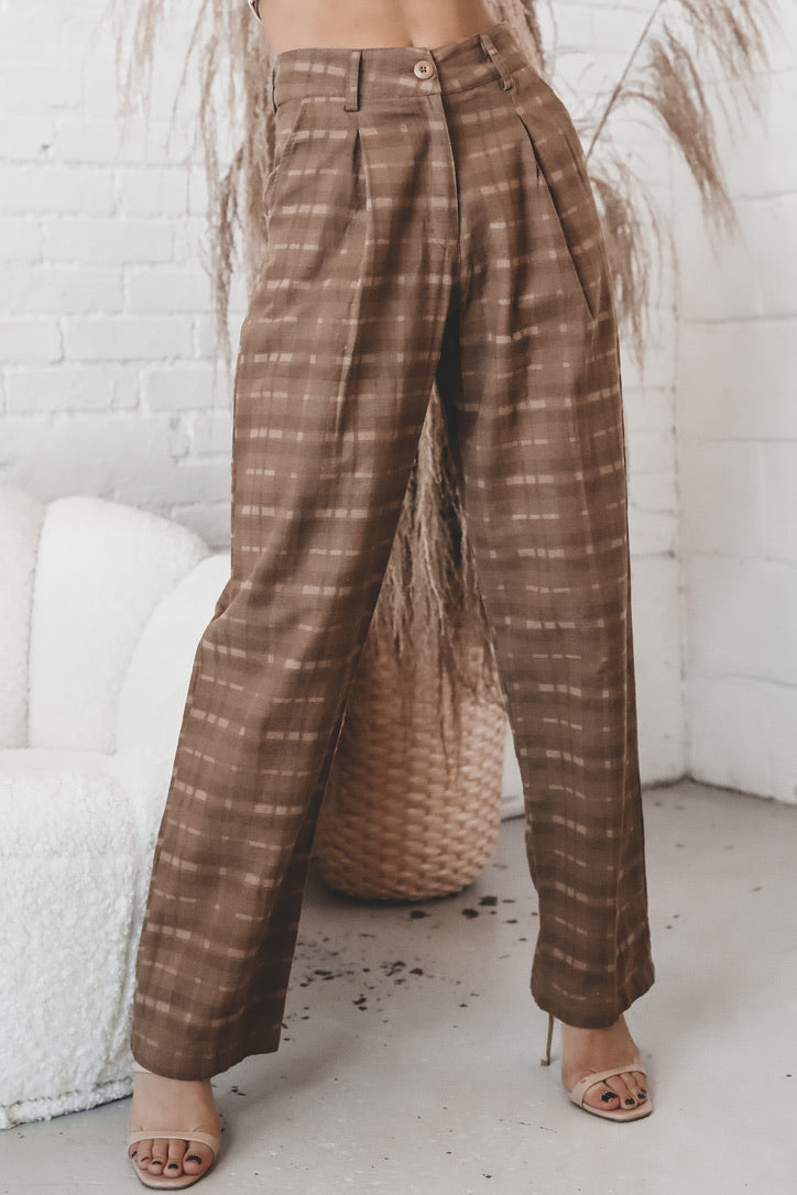 MOTEL Sakila Brown Checkered Trousers