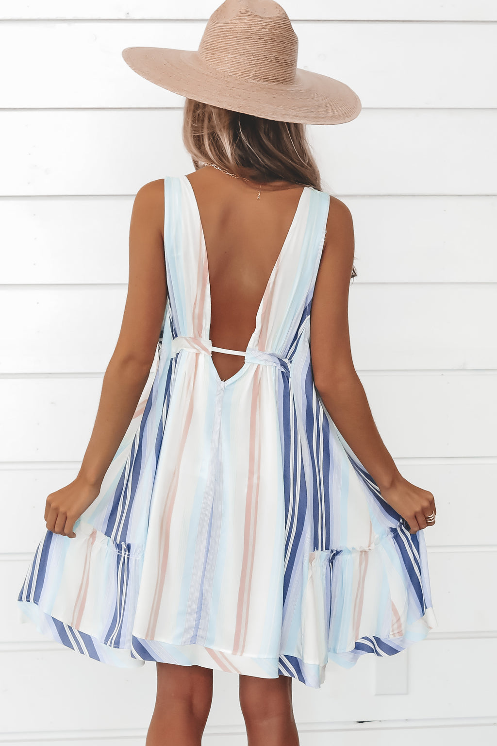 See You First Striped Swing Dress