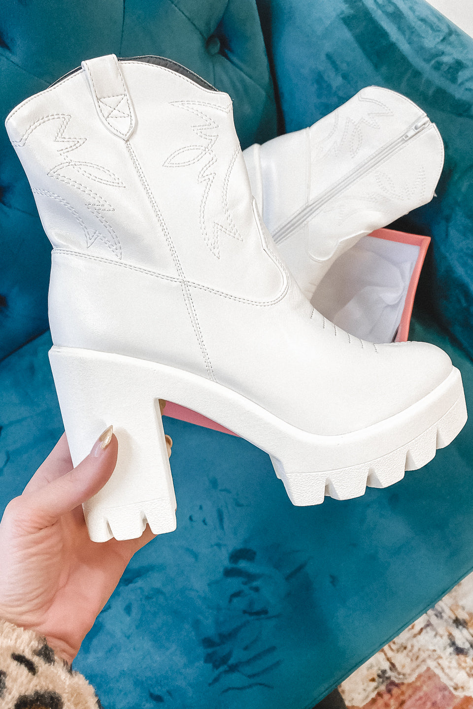 New Age White Western Platform Booties