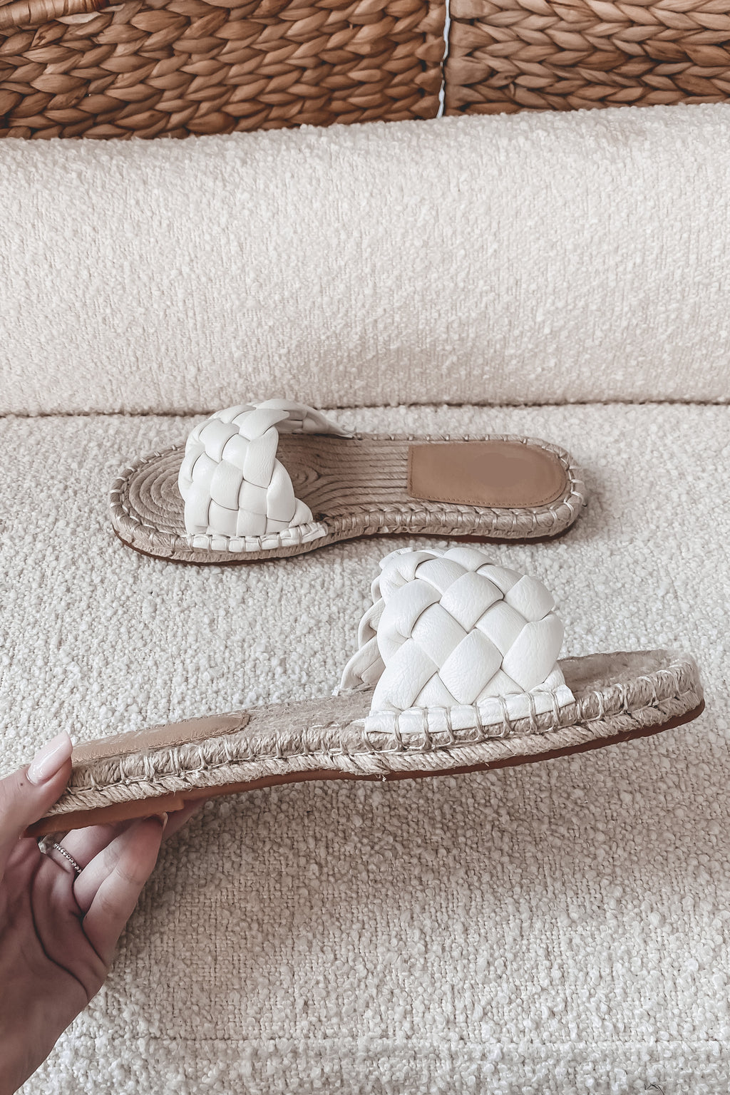 Walking Into The Weekend White Braided Shoes