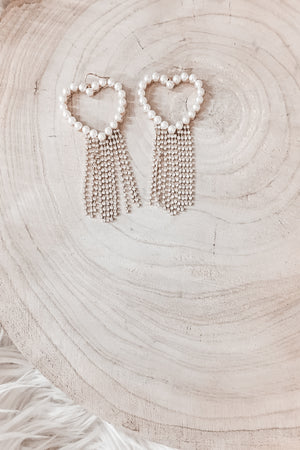 That Old School Love Pearl Heart Earrings