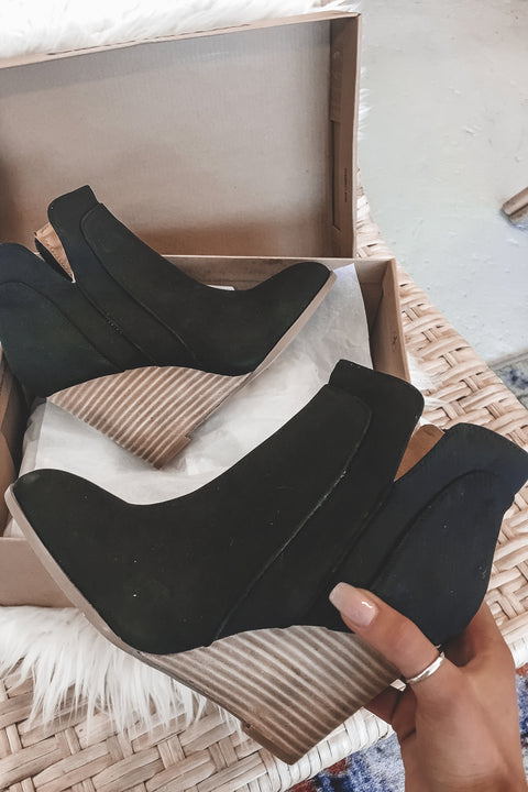 Jealous For Me Black Wooden Wedge Booties