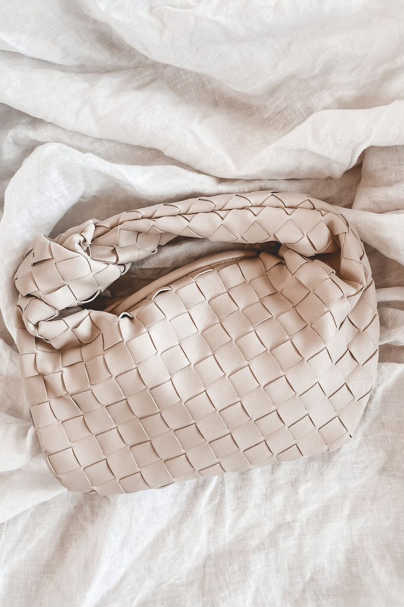 Back And Better Ivory Waffle Knit Shoulder Bag