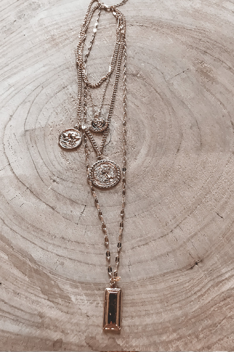 Sunbeams Multi Layering Gold Coin Necklace