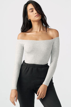 JOAH BROWN Pearl Rib Bare Shoulder Long Sleeve